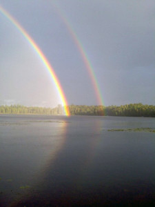 Beautiful Rainbow over Phelps Lake
