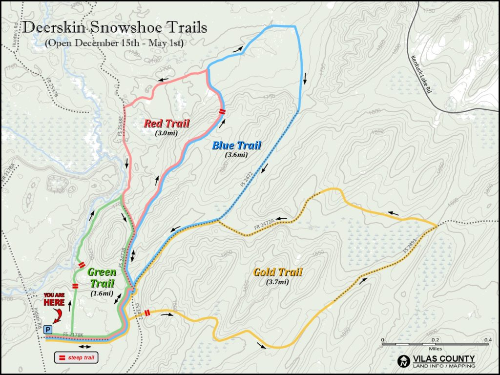 Map of Snowshoe Trail in Phelps WI