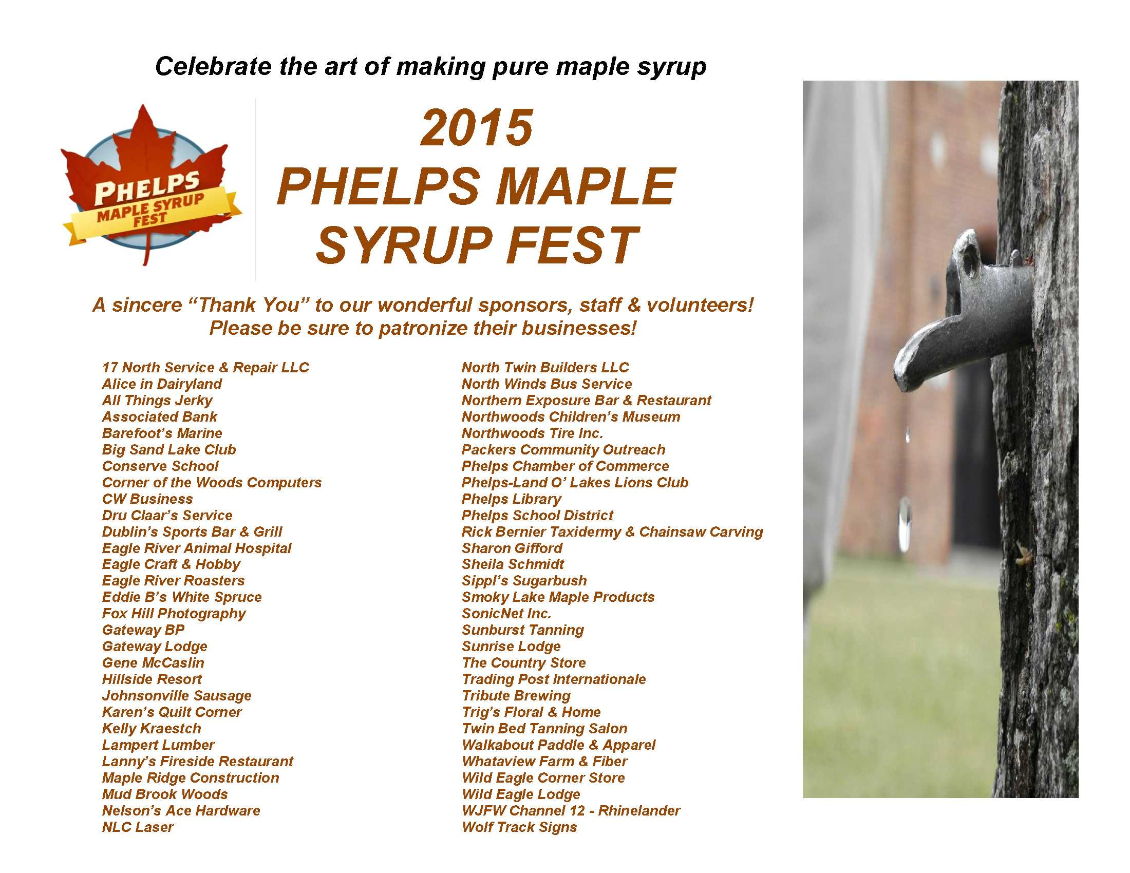 Maple Syrup Fest 2015 Sponsors