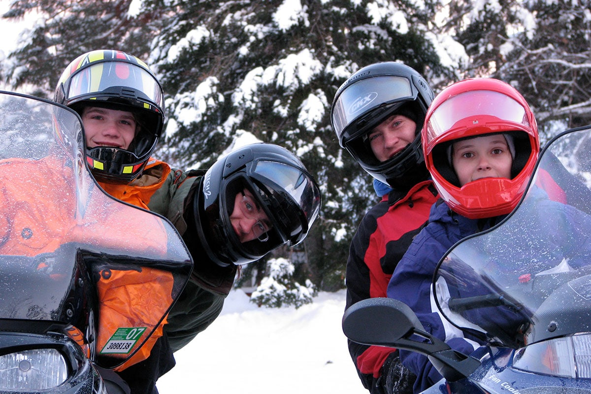 Family Snowmobiling in Vilas County