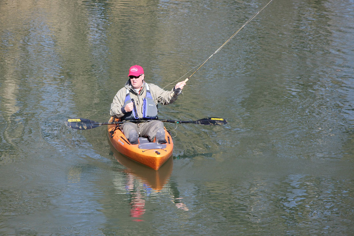 Fly fishing from kayak phelps chamber of commerce for Fly fishing canoe