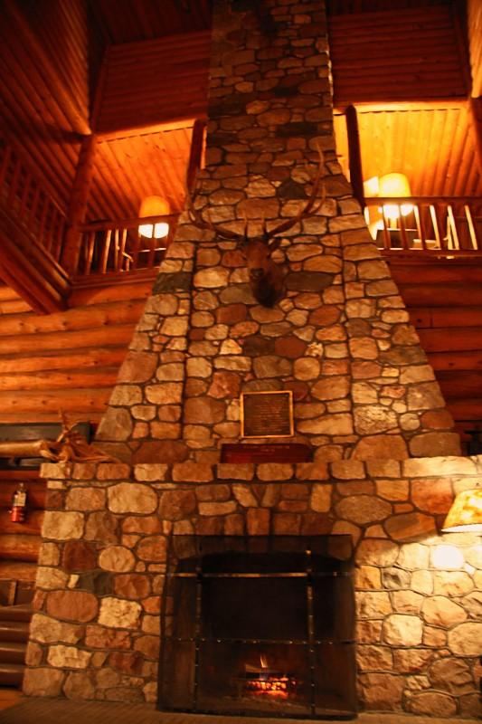 Lobby Fireplace of Big Sand Lake Club