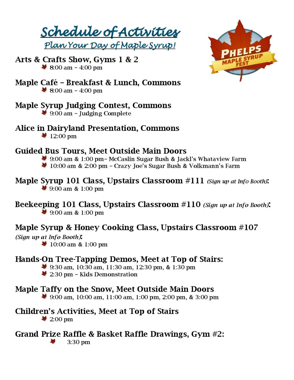 Phelps Maple Syrup Fest Schedule