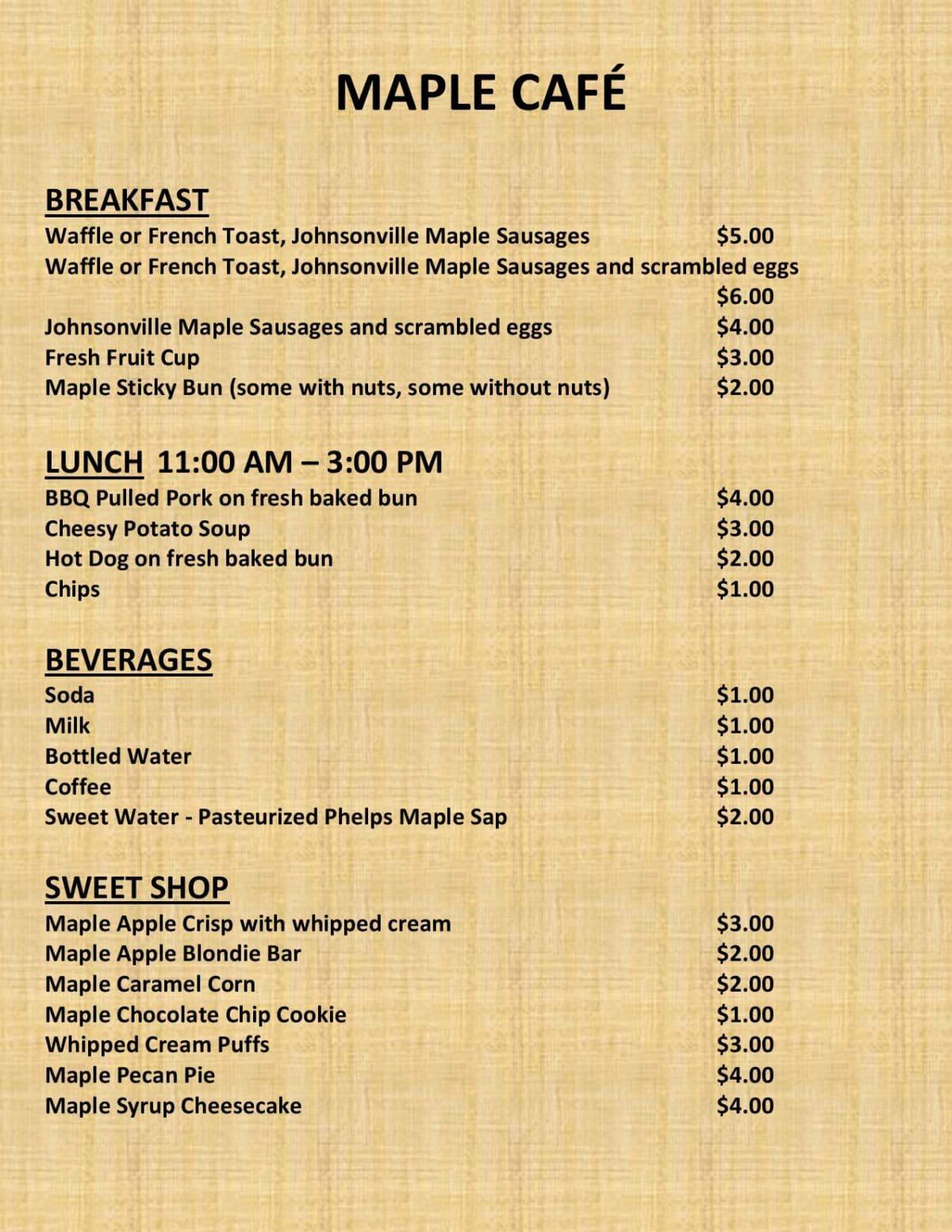 Phelps Maple Syrup Fest Cafe Menu